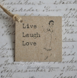Kraft label, Live Laugh, love