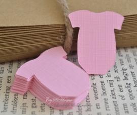 Label baby romper meisje in vele kleurtjes & afm. met of zonder touwtje & tekst