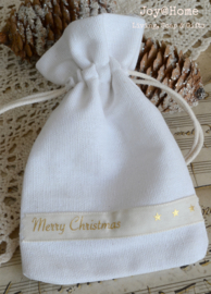Zakje katoen Merry Christmas lint in 2 kleuren