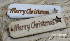 Houten labels ster, Merry Christmas