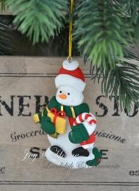 Kersthanger sneeuwpop met cadeautje