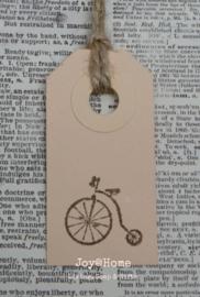 Label antieke fiets in 7 kleuren