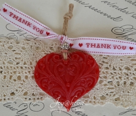 Bedankje. Zeep hartje met lintje in vele kleuren & combinaties