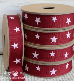 Kartonnen spoel met lint, sterren rood/wit