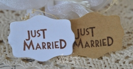 Kraft sticker Just Married in diverse kleuren