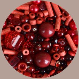 Kralen mix, rood