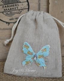 Linnen zakje met een vlinder of bloem in vele kleurtjes