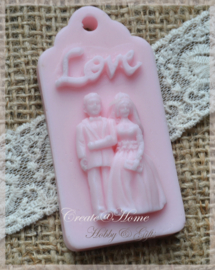 Zeepjes labels Love bruidspaar. Per 5