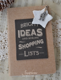 Kraft note book Bright ideas...met linnen kerst tag