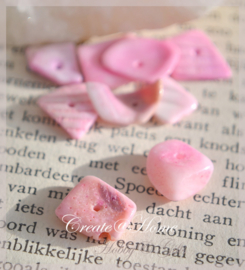 Kralen schelpjes chips, roze