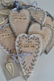 Houten hart-labeltje met diverse teksten
