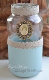 Glazen pot, aqua