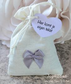 Zakje met lavendel & label eigen tekst in vele kleuren