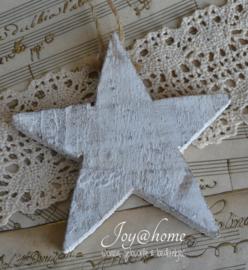 Houten ster oud wit