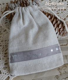 Zakje linnen Merry Christmas lint in 2 kleuren