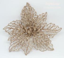 Decoratie glitterbloem met clip, goud