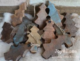 Industriële houten kerstboom