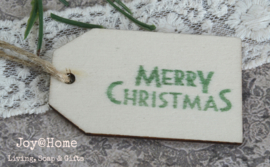 Houten label Merry Christmas in 6 kleuren
