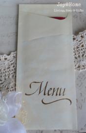 Bestekzakje met servet en stempel Menu in 5 kleuren