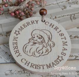 Houten hanger kerstman, Merry Christmas