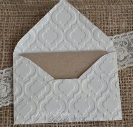 Envelopje met reliëf & kaartje/eigen tekst in vele combinaties & kleuren