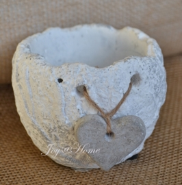 Wit stenen bloempotje met hartje