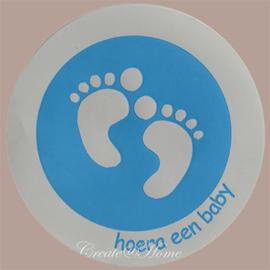 Sticker baby voetjes blauw/wit