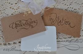 Kraft envelopje stempel incl. kaartje met of zonder tekst. In vele kleuren