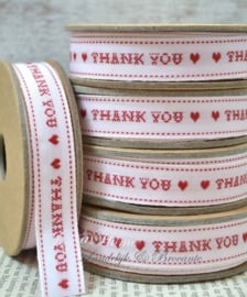 Kartonnen spoel met lint. Thank you, wit/rood