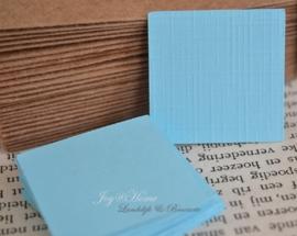 Label vierkant in vele kleurtjes & afm. met of zonder touwtje & tekst