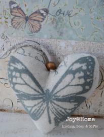 Stoffen hart met vlinder