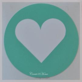 Sticker hartje zeegroen/wit