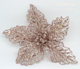 Decoratie glitterbloem met clip, champagne