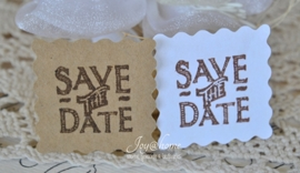 Kraft sticker postzegel Save the Date in diverse kleuren