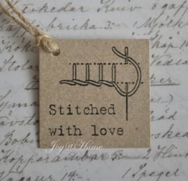 Kraft label, Stitched with love