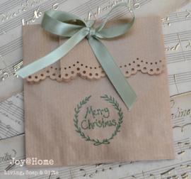 Bruin of wit cadeauzakje Kerst stempel met strik