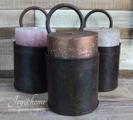 Industriële metalen fles houder met of zonder kaars