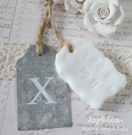 Label zink X (kusje) met zeeplabel Voor jou