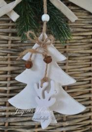 Wit houten kerstboom met belletjes & rendier