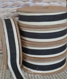 Kartonnen spoel met lint. Offwhite, zwart gestreept