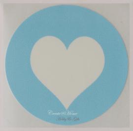 Sticker hartje blauw/wit