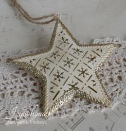 Vintage metalen ster met glitters