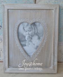 Fotolijstje hart, hout white wash