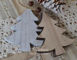 Houten kerstboom in 2 kleuren met kraal