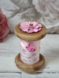 Sierklos roze met 2 mtr. lint