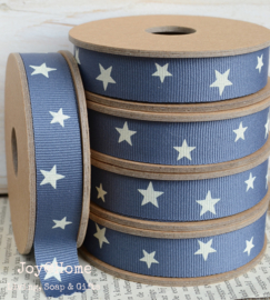 Kartonnen spoel met lint, sterren blauw/wit