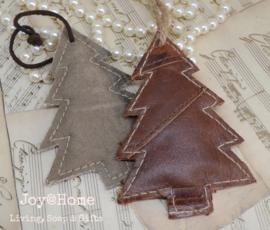 Kerstboom hanger, canvas of leer
