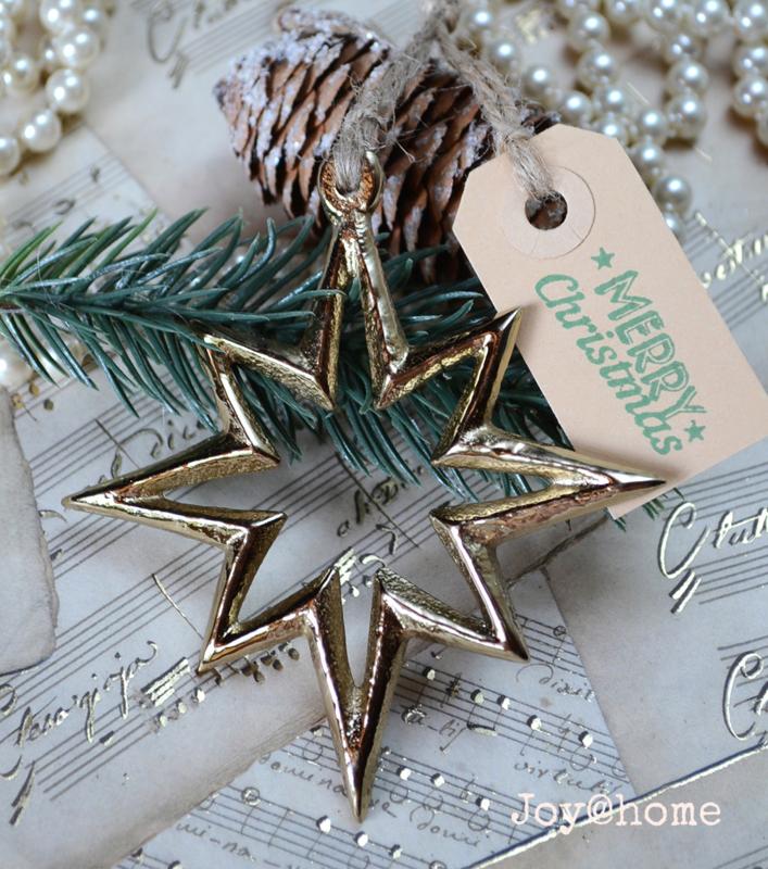 Kerstster metaal goud met label Merry Christmas