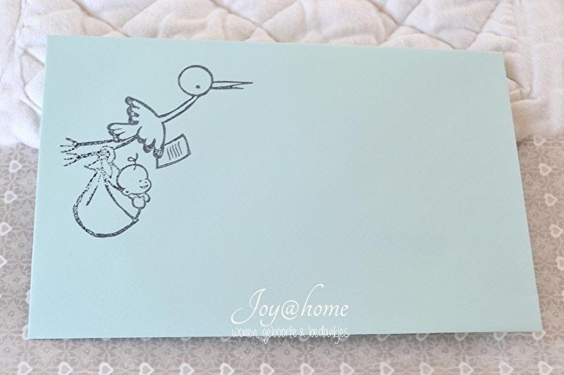 Envelopjes met stempel ooievaar in vele kleurtjes