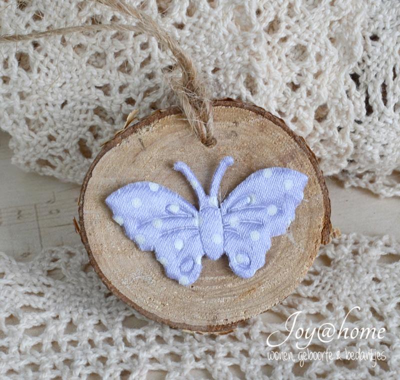 Houten schijfje met vlinder naar keuze